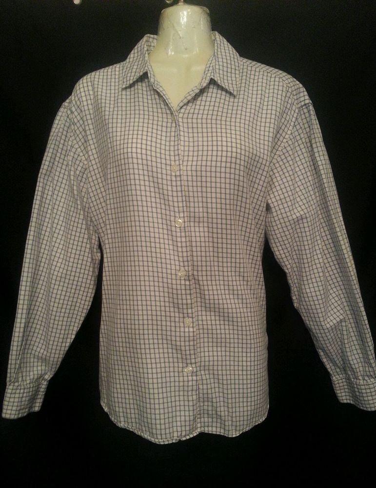 Talbots Shirt Medium White Plaid Long sleeve Cotton
