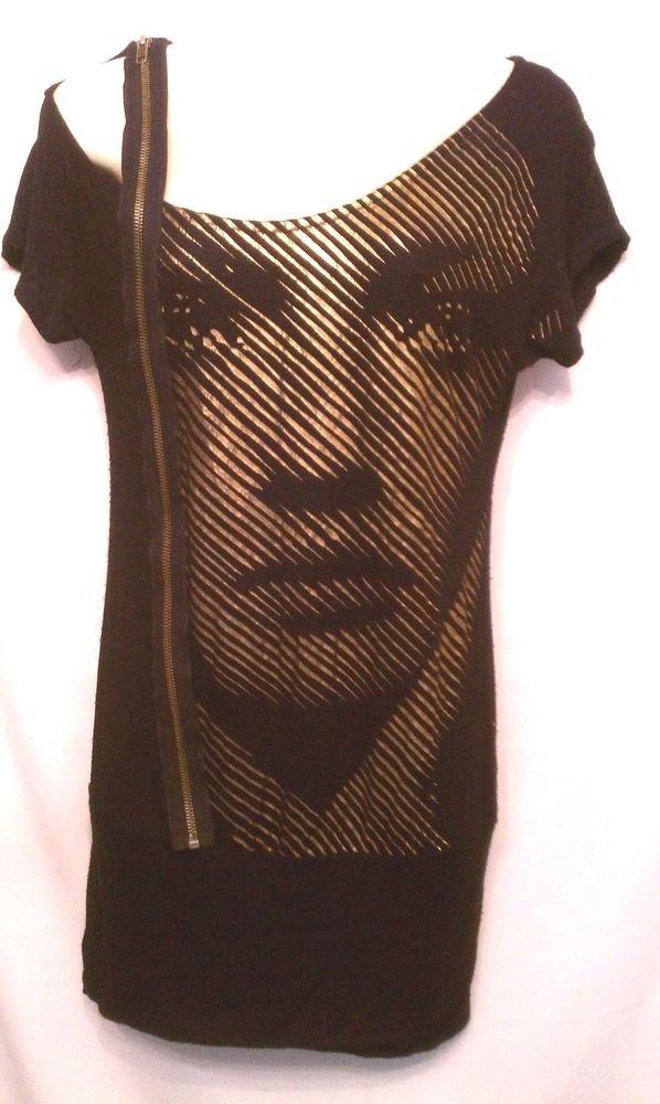 Joy & Peace Shirt Medium Black Face Blouse zipper