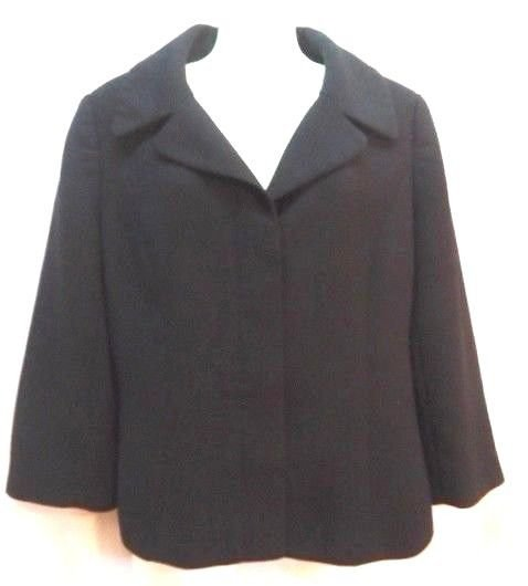 Ann Taylor Loft Crop Blazer Crop Black Jacket Career sz 8 Womens