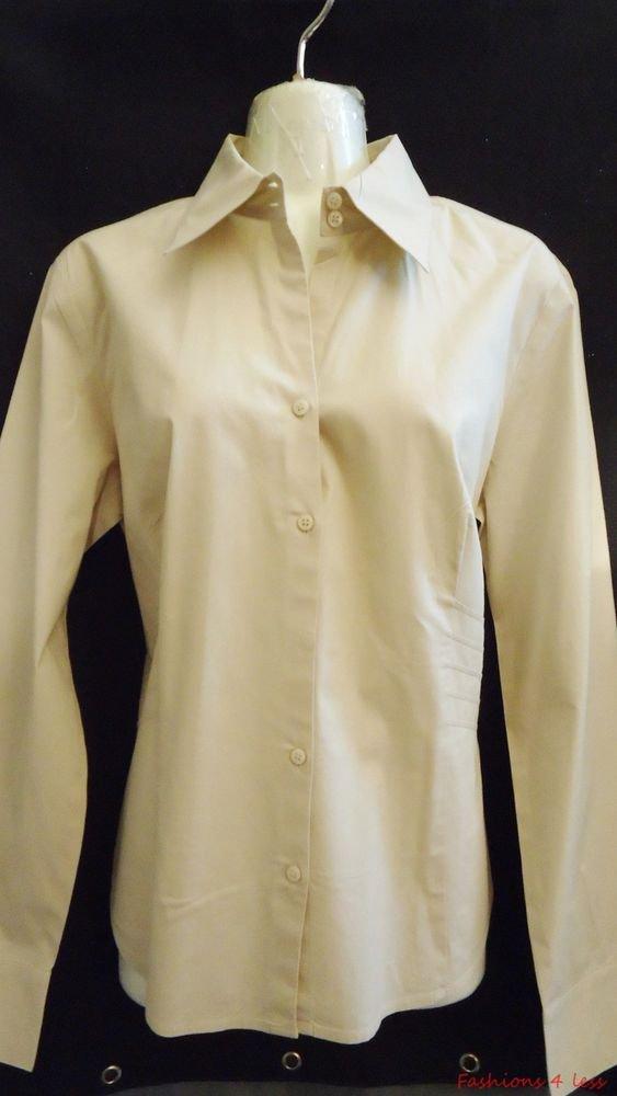 Ann Taylor Loft Shirt 8 Beige Side pleated LS Career