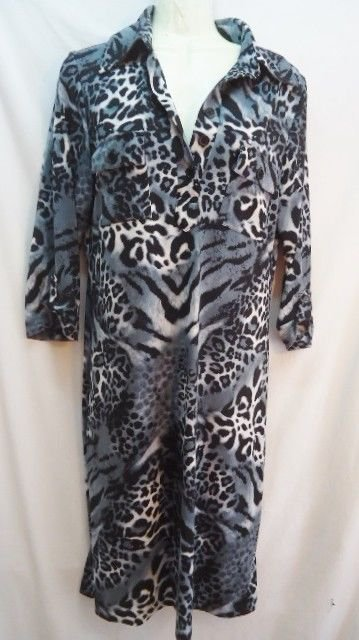 Leopard Animal Print Gray Dress SWEET Womens sz 6 Fall Autumn great w/ Boots