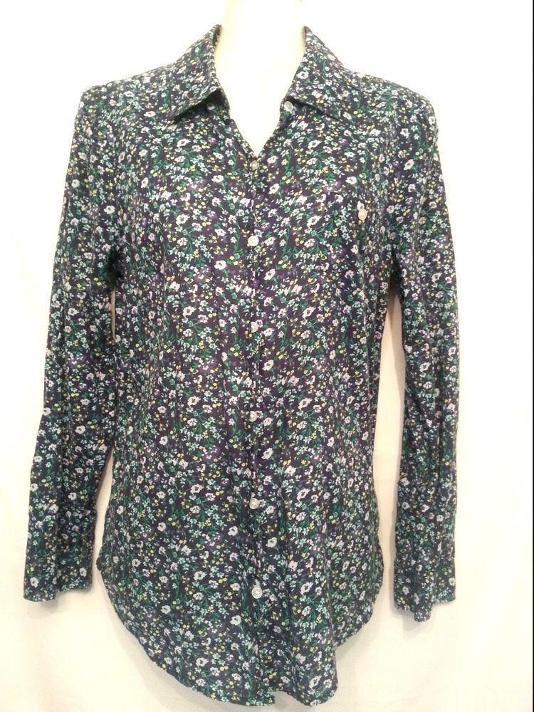Old Navy small Blue Floral Long Sleeve Cotton Shirt