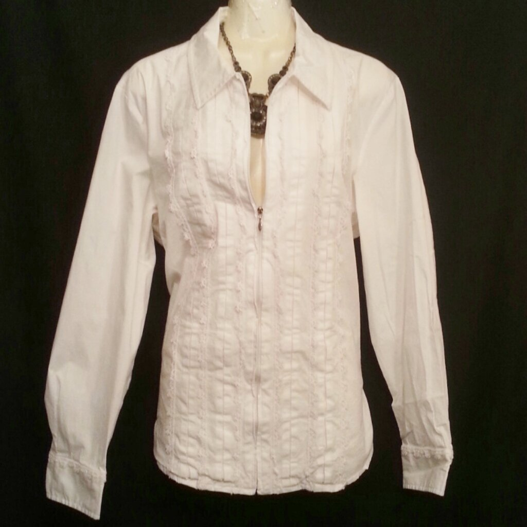 Coldwater Creek 1x white pleated lace zip up shirt