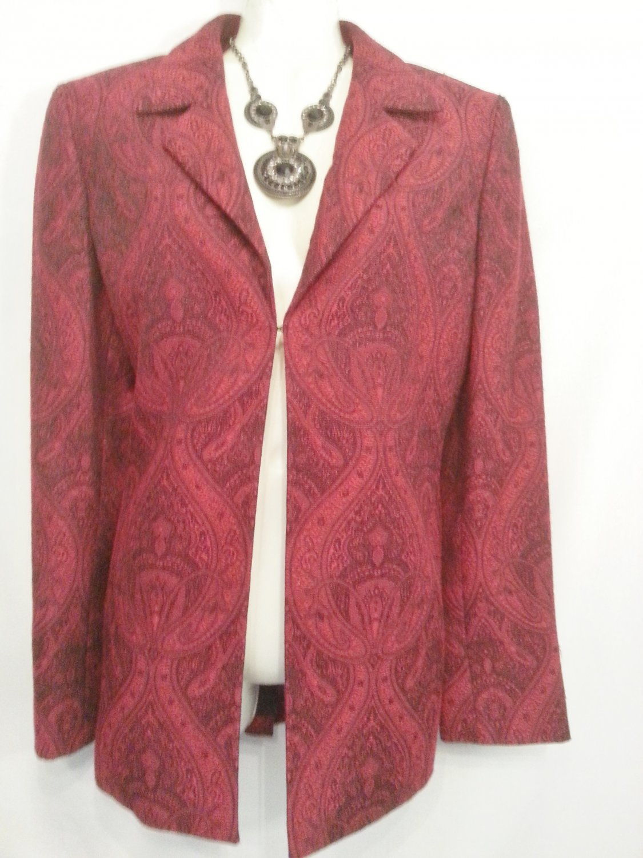 Kasper blazer Red Black Jacket 8 design Career Womens