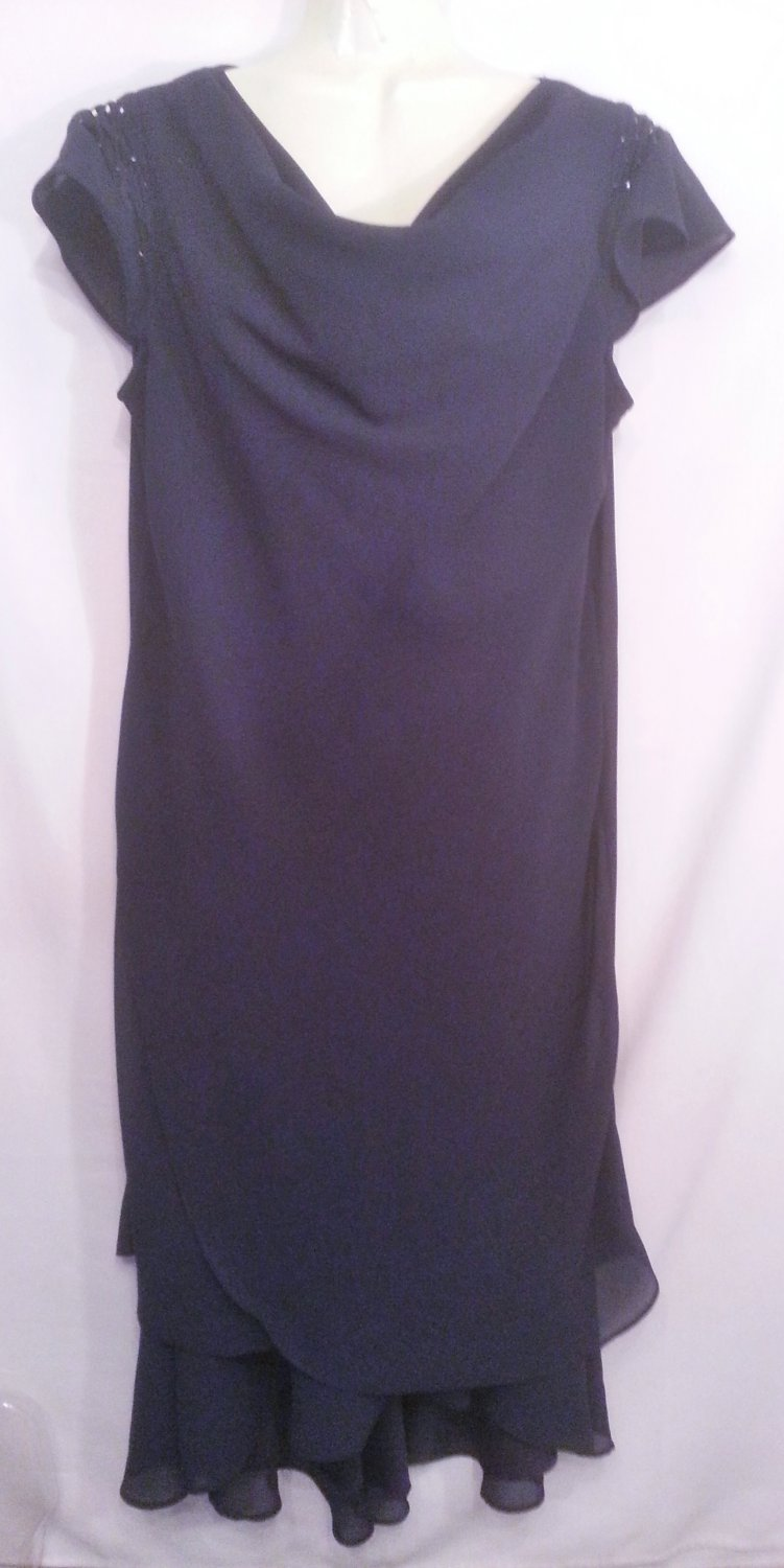 Karin Stevens navy size 12 beaded cocktail Dress special occasion