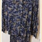 Maggie Lawrence 2 piece Skirt Blouse Suit Blue Geometric Pattern Plus Size 26/28