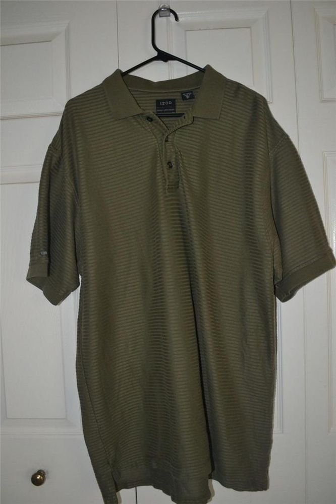 IZOD 100% COTTON RIBBED POLO / GOLF SHIRT SZ XL GREEN