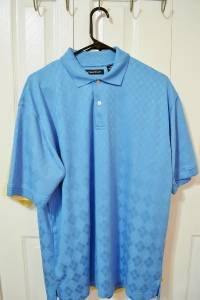 Mens Hathaway Blue Cool/Max Med 100% Polyester  Diamond Pattern Golf Polo Shirt