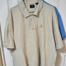 IZOD Mens Beige Polo Golf Shirt Short Sleeve Collared Silk Wash 2XL 100% Cotton