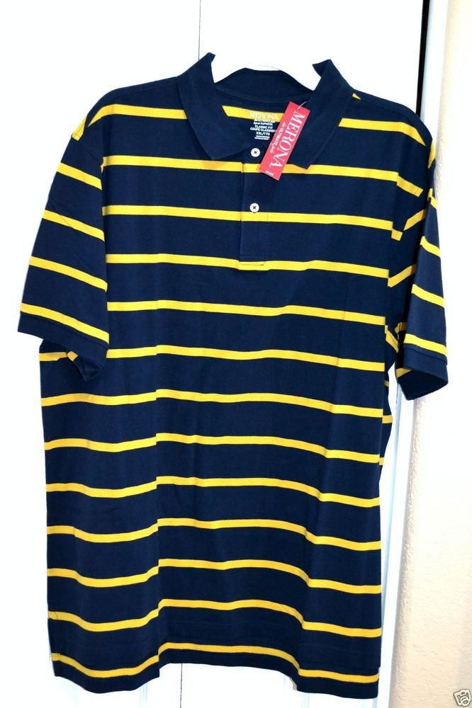 Merona Classic Fit Blue w/ Yellow Stripes 100% Cotton Polo Shirt Size XL NWT