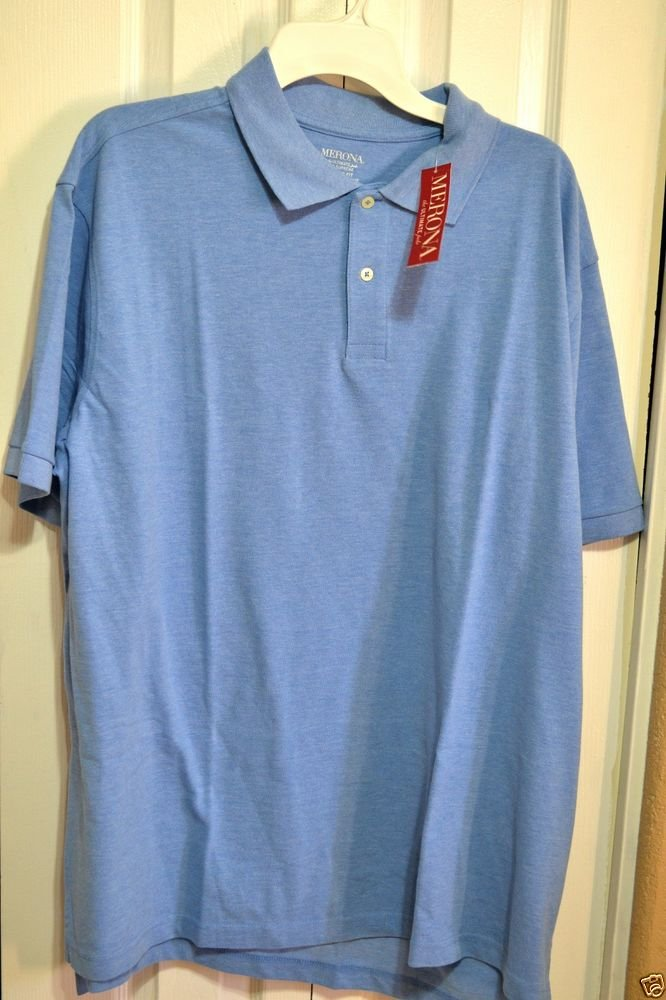 Merona Classic Fit Light Blue Cotton / Polyester Polo Golf Shirt Size 2XL NWT