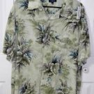 Croft & Barrow Green Floral Pattern Hawaiian Shirt  Size 2XB Rayon Big & Tall