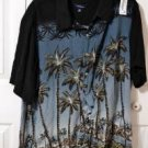 Croft & Barrow Blue & Black Palm Tree Hawaiian Shirt Men's Big & Tall Size 2XB