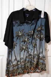 Croft & Barrow Blue & Black Palm Tree Hawaiian Shirt Men's Big & Tall Size 2XB