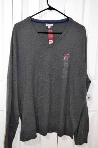 Merona Gray V-Neck Merino Knit Solid Sweater Pull Over Size Mens XL NWT Cotton