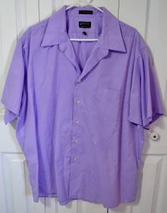Arrow Short Sleeve Purple Men's Dress Shirt Size XXL Pin Stripe Poly/Cotton