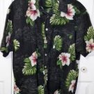 Roundy Bay Black Floral Orchid Print Hawaiian Shirt Men's Size XL 100% Cotton