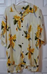 Ho Aloha Floral Hawaiian Camp Shirt Big Size 2XL Made in Hawaii Yellow Floral