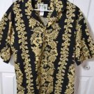 KY's Hawaiian Aloha XL Shirt  Black & Gold Floral Coconut Buttons Made in Hawaii