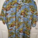 Gap Hawaiian 100% Cotton Blue Short Sleeve Palm Trees and Boats Shirt M Mens XXL