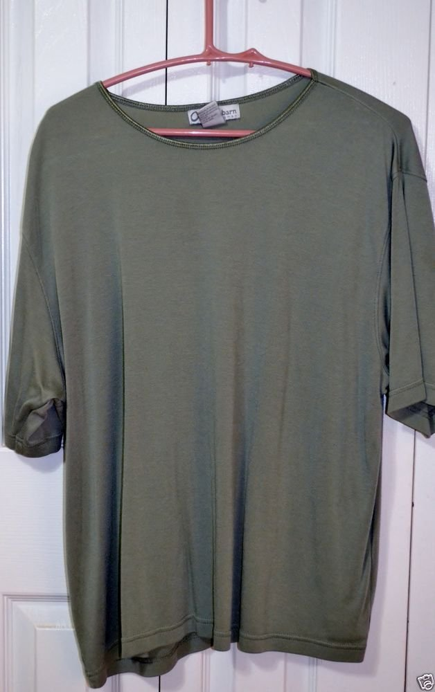 Dress Barn Woman Green Short Sleeve Top Plus Size 22 - 24 3X Rayon/Poly/Cotton