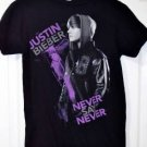 Justin Bieber Never Say Never Concert T-Shirt Size Small Black & Purple 100% cot