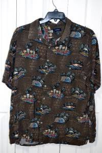 Croft & Barrow Brown Tropical Cocktails Pattern Hawaiian Shirt Men's Size 2XB