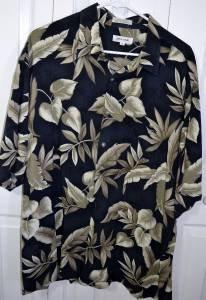Pierre Cardin Men's Floral Pattern Dark Blue 100% Rayon Hawaiian Shirt Size XL