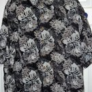 Puritan Mens Hawaiian Shirt 2XL XXL Black, Gray Tropical Leaf  Orchid Rayon