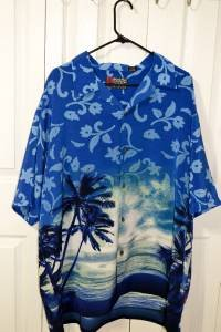 Pineapple Connection Mystic Origins Blue Palm Tree Hawaiian Shirt Men's Size 2XB