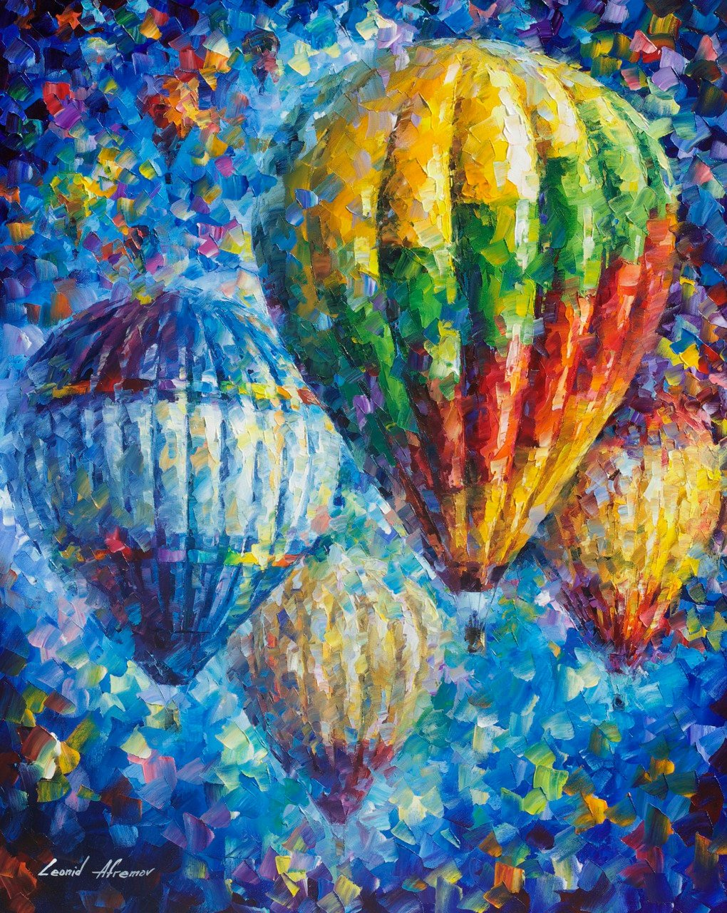 Up In The Blue Sky � PALETTE KNIFE Oil Painting On Canvas