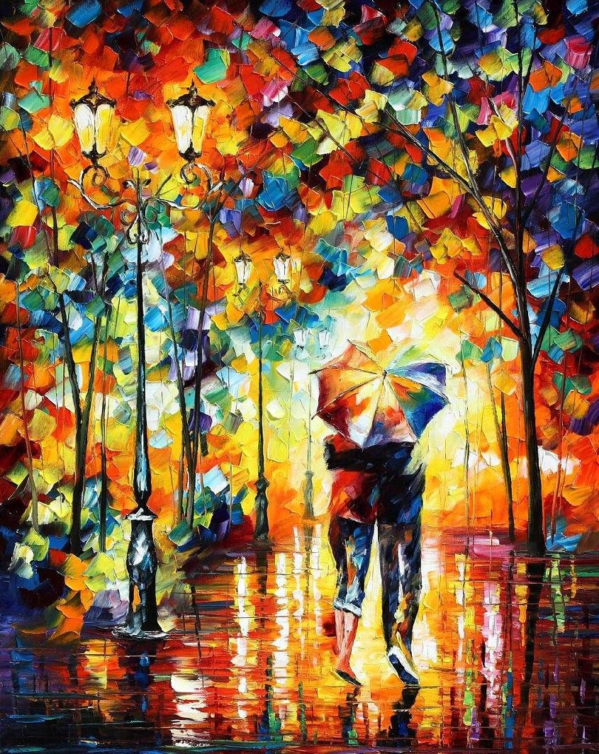 Under One Umbrella � PALETTE KNIFE Oil Painting On Canvas