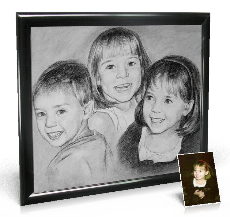 Charcoal Drawing 20x24 inch, 2 people included - Portraits from Photos