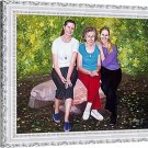 "Oil portrait from photo, 3 people, 30""x40"", unframed - painting from photo"