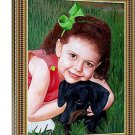 "Photos to oil painting, 1 Pet and 1 Person, 24""x36"", unframed - custom oil paintings"