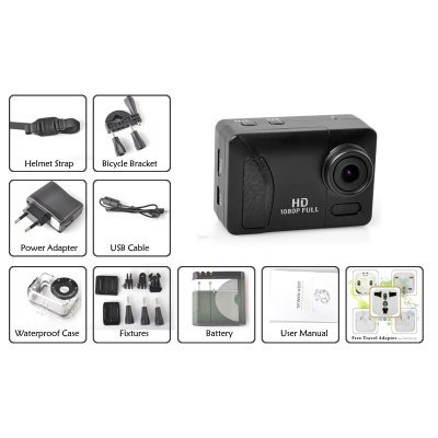 Full HD 1080p Wi-Fi Action Sport Camera - HDMI Output,