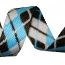 Blue, White and Brown Reversible Argyle Belt