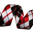 Black, White and Red Reversible Argyle Belt