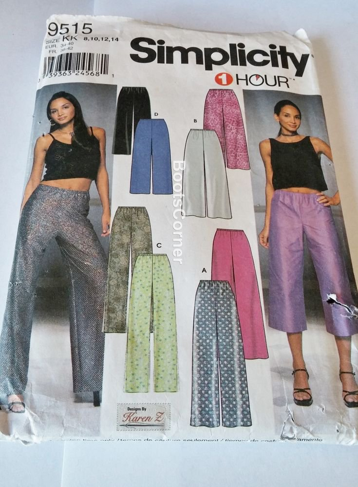 UNCUT Simplicity Sewing Pattern #9515 - Lined/Unlined Pants- Sizes 8 - 14