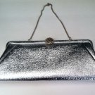 Vintage Silver Shiniy Clutch Party Evening Bag 12 inches Wide x 5 inches High