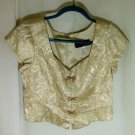 Womens Gold Blouse Top Cap Sleeve Acetate Size 12