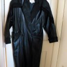 Womens Black LEATHER TRENCH Coat Long -  Size PS