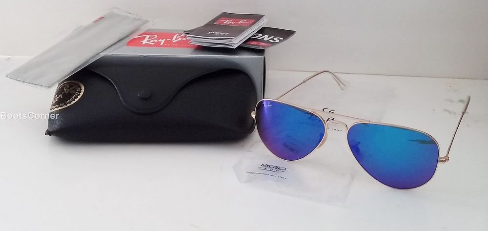 Ray Ban Aviator Blue Sunglasses RB3025 AVIATOR METAL 112/17