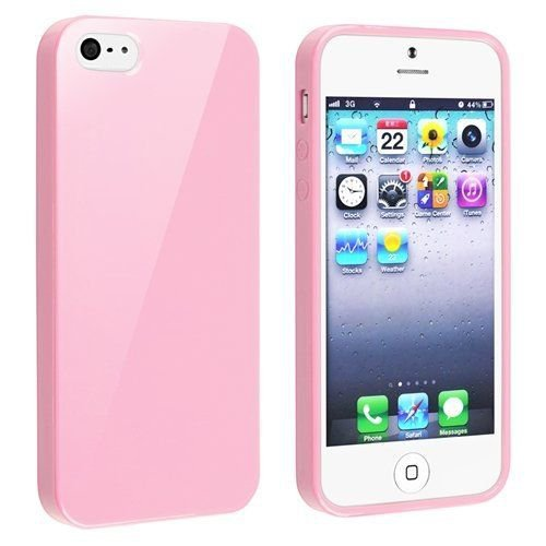 Silcone Fitted Skin Case Compatible with Apple iPhone 5 / 5S, Light Pink