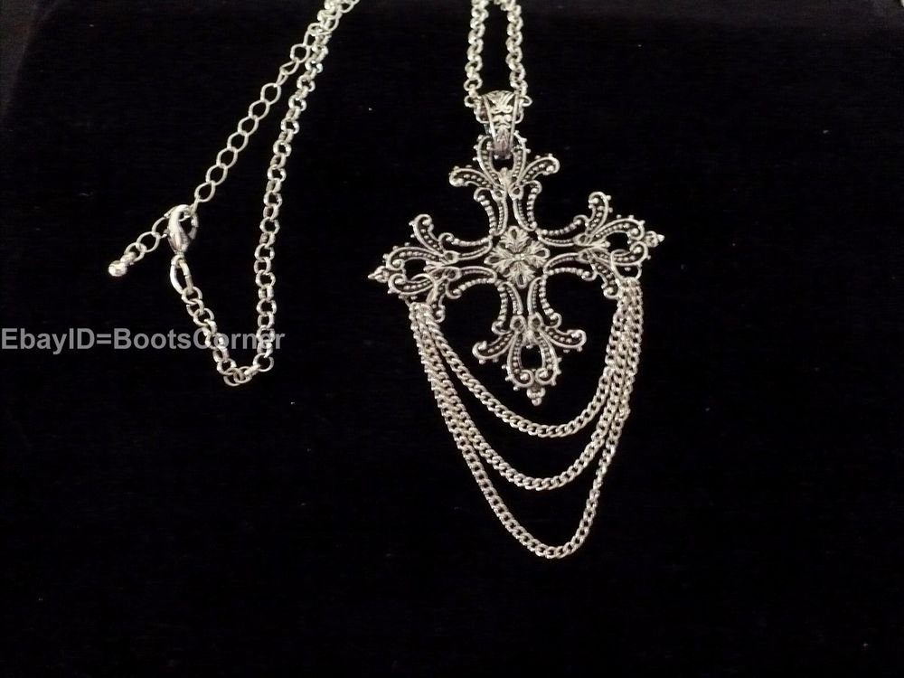Cross Necklace Pendant Chain Sterling Plated Stainless Steel
