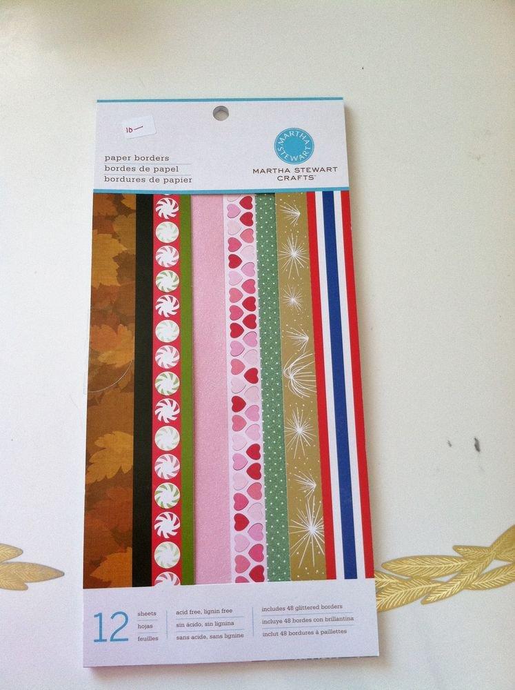 Martha Stewart Crafts Holiday Paper Border Pad Scrapbooking 12 sheets