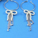 Silver Hoop Bow Dangle Pierce Earrings