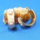 Soft Pink & White/Cream Half Hoop Pierced Post Surgical Steel Drop Earrings