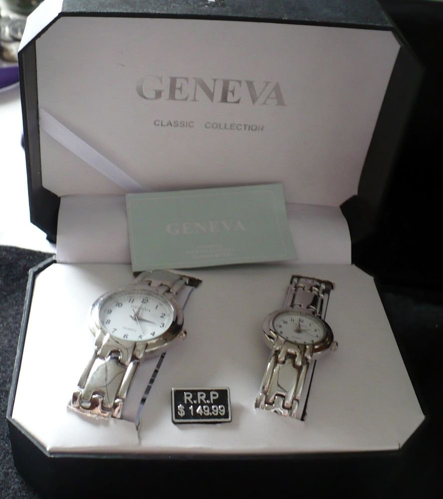 His and Hers Matching Wrist Watch Gift Set Geneva Quartz Classic Collection