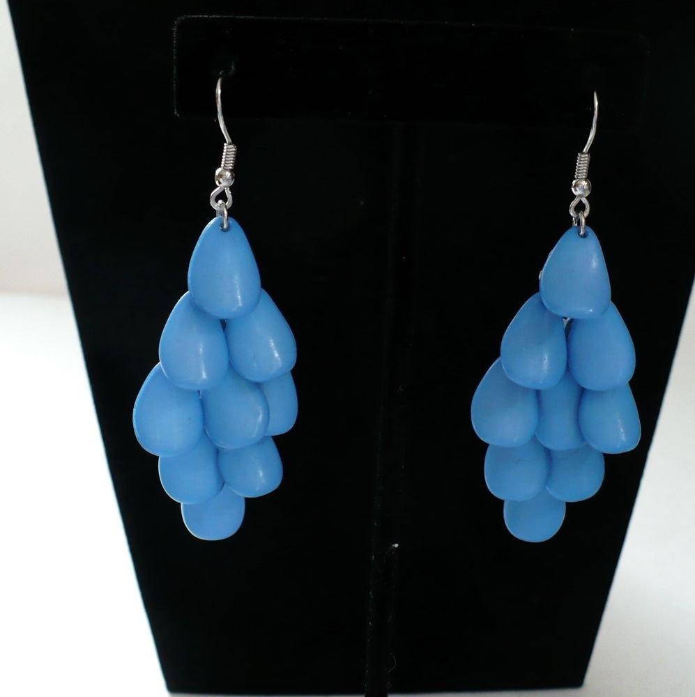 Blue Tierd Dangle Drop Hook Earrings Surgical Steel Post